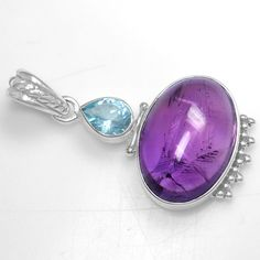 8.0 Gm 925 Sterling silver Natural Fine Oval Amethyst Blue Topaz Pendant Jewelry