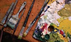 Close-up of painter's tools