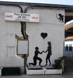 Cupido street art. Liebe und Romantik.