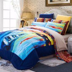 Designer Oil Painting Bedding Set Elegant Colorful Sanding Comforter Bedding Sets For Winter