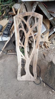 Wood tree carving almosg ready