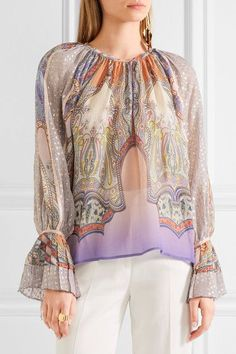 Etro | Printed silk-chiffon and fil coupé blouse | NET-A-PORTER.COM
