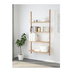 IKEA - SVALNÄS, 壁取り付け式シェルフコンビネーション, , 収納力抜群のソリューション。なんでもきちんと整理できるので、何がどこにあるかも一目瞭然です棚板はそれぞれ幅や奥行きが異なるので、小物から大型本まで、大小さまざまなものを収納できます