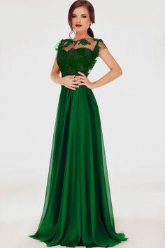 Rochie de seara verde smarald cu dantela si broderie