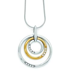 Leslie's SS Gold-tone Flash 24k Plated Crystal Pendant
