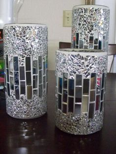 Mosaic mirror candle holders, intricate work!                                                                                                                                                     More