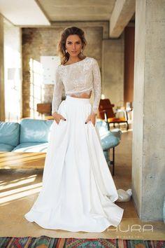 Wedding dress 'INESSA' with satin skirt crop top image 3 2 Piece Wedding Dress, Making A Wedding Dress, Top Wedding Dresses, Wedding Gowns, Wedding Skirt, Satin Skirt, Princess Wedding, The Dress, Trendy Fashion