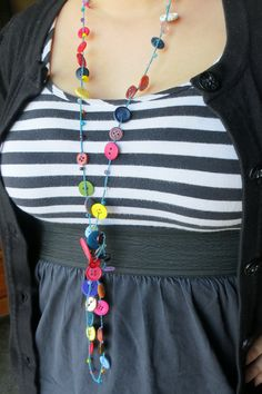 Blue Blue Buttons  Versatile crocheted necklace / by FleasKnees, $15.00
