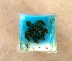 Fused glass turtle trinket dish
