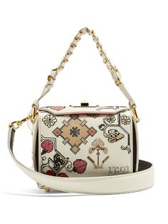 cf6df655ed67 Alexander McQueen Box 16 mini embroidered-leather shoulder bag White Tote  Bag
