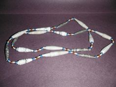 33 one of a kind paper and glass bead necklace by DandDsJewels, $10.00