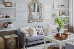 #living-room, #sofa, #coffee-table  Design/Home: Brittany Robertson - ohmydearblog.com/ Photography: Velvet Leaf Photos - velvetleafphoto.carbonmade.com/  Read More: http://www.stylemepretty.com/living/2014/12/02/behind-the-blog-oh-my-dear/