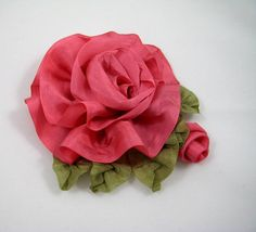 Silk Ribbon Rose with Bud Ribbonwork Flower Pin by WaywardWomen, $25.00