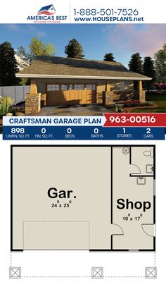 Get to know Plan 963-00516, a Craftsman style garage with 898 sq. ft. and a workshop. #craftsman #garage #garageplans #architecture #houseplans #housedesign #homedesign #homedesigns #architecturalplans #newconstruction #floorplans #dreamhome #dreamhouseplans #abhouseplans #besthouseplans #newhome #newhouse #homesweethome #buildingahome #buildahome #residentialplans #residentialhome