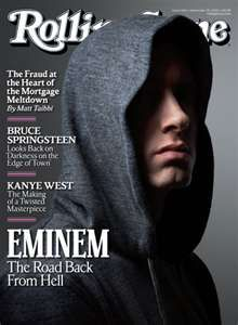 in Whole Foods' checkout line last night, and there was Eminem on the cover ofRolling Stone, nose peeking out from his (shady) hoodie. I shelled out. Eminem is currently the music industr… Pearl Jam, Rolling Stones, Nirvana, Dr Hook, Rolling Stone Magazine Cover, Eminem Rap, Eminem Music, Rap Music, Hip Hop