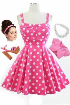 50s Style PINK & White POLKA DOT Bombshell PINUP Full Skirt Sun Dress
