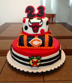 Chicago sports cake I made for my boyfriend's birthday. Blackhawks, Bears, and Bulls! Took forever but totally worth it. Not to mention the Hawks also won tonight in game 1 vs LA :)