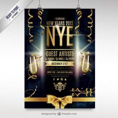 cmyk new year party flyer template