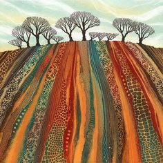 Giclee prints by Northumberland artist Rebecca Vincent. Inspirational for a landscape quilt. Landscape Art Quilts, Landscape Paintings, Landscapes, Kunst Der Aborigines, Art Textile, Arte Pop, Aboriginal Art, Tree Art, Fabric Art