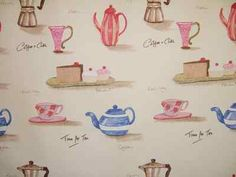 """Time For Tea"" fabric at Digby & Willoughby Fabric Design, Place Card Holders, Tea, Fabrics, Alice, Kitchen, Shop, Tejidos, Cooking"