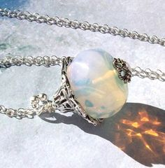 Opal Necklace Crystal Necklace sterling by SterlingSimplicity, $20.00