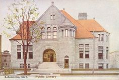 The Kalamazoo Public Library from a 1908 postcard /Bookriot Kalamazoo Michigan, Carnegie Library, Literary Travel, Romanesque Architecture, Photography Illustration, Library Books, Around The Worlds, Mansions, House Styles