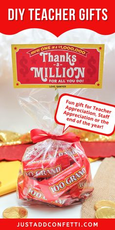 "Looking for an adorable gift idea for teacher appreciation, staff appreciation, or end of the year? I've got you covered with this ""Thanks a Million"" 100 Grand candy bar teacher gift. The ""Thanks a Million"" printable gift tag is available in my Just Add Confetti Etsy shop. A fun gift of thanks for employees, co-workers & friends too! Simply add 10 fun sized 100 Grand candy bars! Such a fun 5 minute DIY teacher gift! Be sure to head to justaddconfetti.com for even more simple teacher gift ideas."