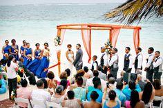 Beautiful Beach Wedding in Mexico with Orange, Blue and White Color Scheme - Munaluchi Bridal Magazine