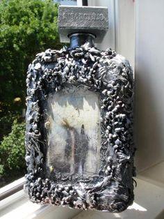 http://dcpg.ru/blogs/5303/ Click on photo to see more! Нажмите на фото чтобы увидеть больше! decoupage art craft handmade home decor DIY do it yourself bottle Materials and techniques: print varnish craquelure paint etc.