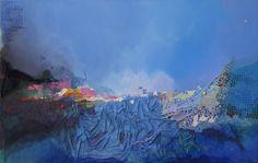 Collage: Acryl auf Leinwand, 150x95cm Käuflich zu erwerben! Custom Art, Sailing, Collage, Brush Strokes, Fantasy World, Fireworks, Abstract Art, Surface Finish, Artworks