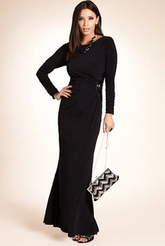 Slash Neck Side Beaded Maxi Dress