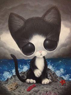 Sugar Fueled Cat Pity Kitty Black and White Sea Beach Animal Pop Surrealism Lowbrow creepy cute big eyes eye art print