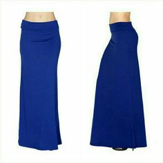 "Blue maxi skirt Size Small 5/6 NWT Beautiful blue maxi skirt. Size Small. Fits ladies 5/6. Flattering wide fold over waistband. You can wear this as a high waisted skirt or fold waistband down. Super soft medium weight polyester rayon blend fabric, feels like cotton. Not sheer or see through.  33"" long. Brand new with tag. Jill Marie Boutique Skirts Maxi"