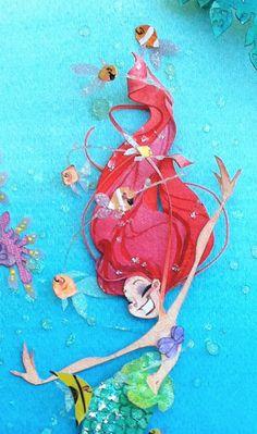 the little mermaid j. 3d Paper Art, Paper Artwork, Cut Paper, Paper Crafts, Diy Arts And Crafts, Cute Crafts, Lightbox Art, Mermaid Fairy, Paper Illustration