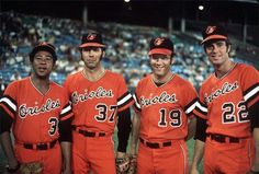 Second time in ML history one team featured winners. From left to right: Mike Cuellar, Pat Dobson, Dave McNally, and Jim Palmer (the 1920 Chicago White Sox were the first). Mlb Uniforms, Baseball Uniforms, Braves Baseball, Football, Pittsburgh Pirates Baseball, Baltimore Orioles Baseball, Baltimore Maryland, Dallas Cowboys, Mlb Players