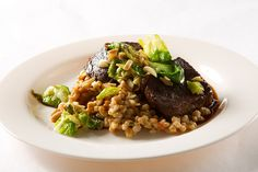 Braised Short Rib, Farro, Root Vegetable, Brussel Leaves, Almonds, Roasted Garlic Jus by D'Amico Catering, via Flickr