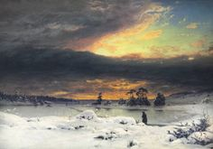 Winter Landscape at sunset, 1880 by Finnish landscape painter Fanny Churberg Painting Snow, Winter Painting, Winter Art, Chur, Cool Landscapes, Landscape Paintings, Snow Art, Winter Beauty, Winter Landscape