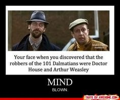your face when you discovered that the robbers of the 101 dalmatians were doctor house and arthur weasley