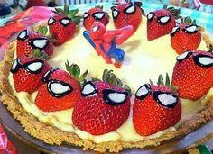 Make spiderman 's with strawberries n those gel icing tube things !