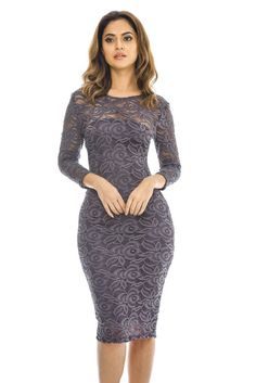 AX Paris Womens Pewter 3/4 Sleeve Lace Bodycon Dress Glamorous Fashion