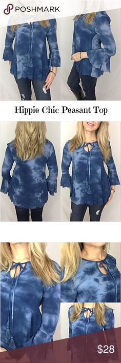 "Hippie Chic Tie Dye Peasant Top SML All my favorites in one beautiful top!  Great with all shades & styles of denim.   • Hippie Chic Peasant Style • 3/4 Bell Sleeves • Tie Dye in Shades of Blue • Yoke Tassel Tie Front • Frayed Hem • 100% Rayon Flowy & Non-Stretch  Small 2/4/6 Bust 32-34-36 Length 26"" Medium 8/10 Bust 36-38 Length 26.5"" Large 12 Bust 38-40 Length 27"" Tops"