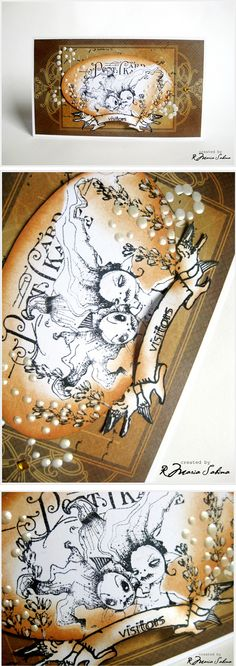 Artwork created by Lollyrot using rubber stamps designed by Daniel Torrente for Stampotique Originals