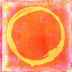 Yellow Painting - Enso No. 109 Yellow On Pink And Orange by Julie Niemela