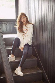 Suzy - guess 2016 f/w collection korean model, korean fashion street style, Korean Fashion Kpop Inspired Outfits, Korean Fashion Trends, Korean Street Fashion, Korea Fashion, Korean Outfits, Asian Fashion, Trendy Fashion, Style Fashion, Suzy Bae Fashion