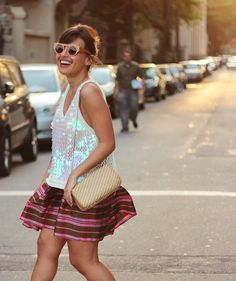 Just love. Pink vintage skirt, sequin blouse, vintage clutch and wood sunnies.