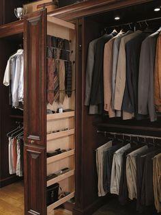 Ideas para guardar complementos masculinos | Closet storage ideas