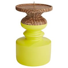 Brooklyn Pillar Stand - Yellow | Target Australia - gold bomb it! Yellow Home Accessories, Yellow Home Decor, Wood Home Decor, Color Splash, Home Art, Decorative Items, Brooklyn, Candle Holders, Interior Decorating