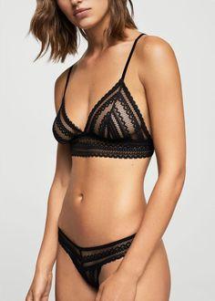 Lace triangle bra - Woman   MANGO Aruba