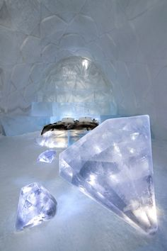 ❄ A MidWinter's Night's Dream ❄... Ice Diamonds in an Ice Hotel Bedroom in Sweden... By Artist Unknown...