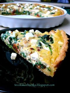 teczka kucharska: Tarta z kurczakiem, suszonymi pomidorami, szpinakiem i fetą Feta, Cooking Recipes, Healthy Recipes, Chefs, I Foods, Food Inspiration, Love Food, Quiche, Food To Make